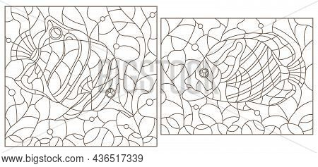 A Set Of Contour Illustrations In The Stained Glass Style With Butterfly Fish On A Background Of Alg