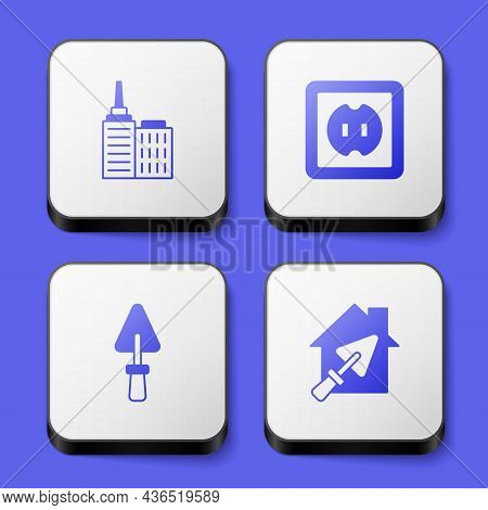 Set City Landscape, Electrical Outlet, Trowel And House With Trowel Icon. White Square Button. Vecto
