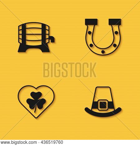 Set Wooden Barrel On Rack, Leprechaun Hat, Heart With Clover Trefoil Leaf And Horseshoe Icon With Lo