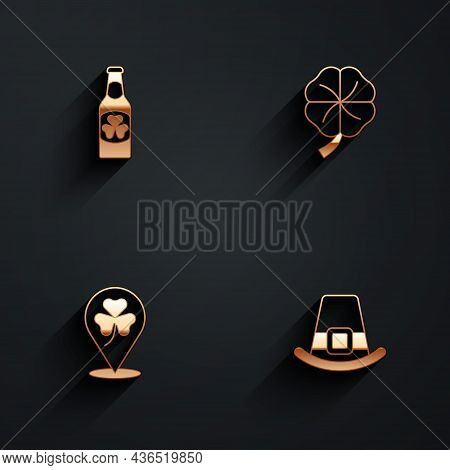 Set Beer Bottle With Clover, Four Leaf, Clover Trefoil And Leprechaun Hat Icon With Long Shadow. Vec