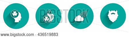 Set Head With Clover Trefoil Leaf, Glass Of Beer, Rainbow Cloud And Mustache And Beard Icon With Lon