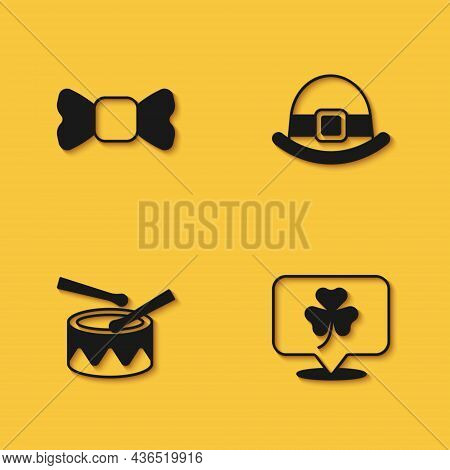 Set Bow Tie, Clover Trefoil Leaf, Drum With Drum Sticks And Leprechaun Hat Icon With Long Shadow. Ve