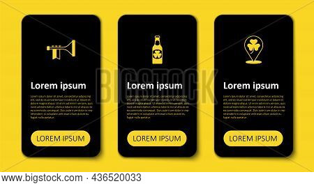 Set Clover Trefoil Leaf, Beer Bottle With Clover And Trumpet. Business Infographic Template. Vector