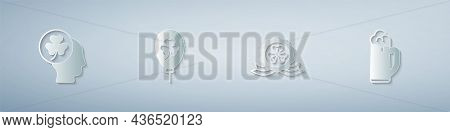 Set Head With Clover Trefoil Leaf, Balloon, Medal And Glass Of Beer. Paper Art Style. Vector