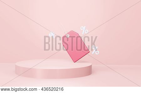 3d Geometric Circular Pink Podium For Product Placement And Red Label Price Tag. 3d Render