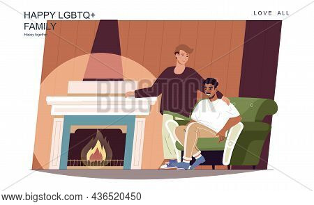 Happy Lgbt Family Concept. Loving Men Sitting By Fireplace At Living Room, Relax At Home. Multiracia