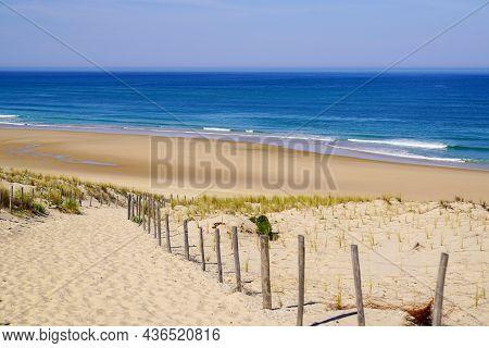 Sand Sea Path Way Access Atlantic Beach In Sand Dunes In Lacanau Ocean France