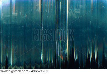 Glitch Overlay. Dust Scratch Texture. Distressed Filter. Distorted Screen. Dark Teal Blue White Blac