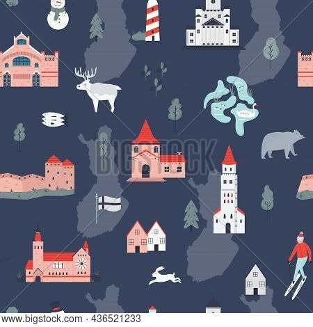 Seamless Pattern With Symbols And Landmarks Of Finland