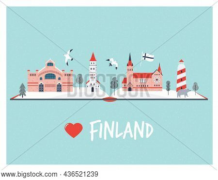 Greeting Card With Famous Landmarks Of Finland