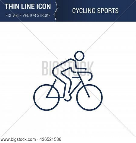Symbol Of Cycling Sports Thin Line Icon Of Sport And Fitness. Stroke Pictogram Graphic Suitable For