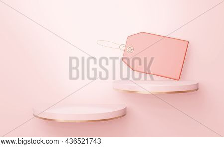 Two Elegant Round Pink Shelves With An Empty Label. For Inserting Shoes, Bags And Other Goods. 3d Re