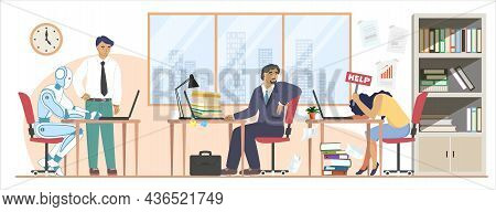 Tired Employee, Robot Working Tirelessly, Vector Illustration. Robots Superiority, Better Productivi