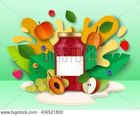 Fruit Jam Package Glass Jar, Paper Cut Fresh Fruits, Liquid Splash, Drops. Healthy Fruit Preserves,