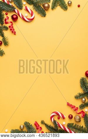 Christmas background with decorative frame. Flat lay, top view and copy space for text