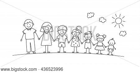 Happy Doodle Stick Mans Family In Summer Park. Hand Drawn Family Members. Mother, Father And Kids Ho