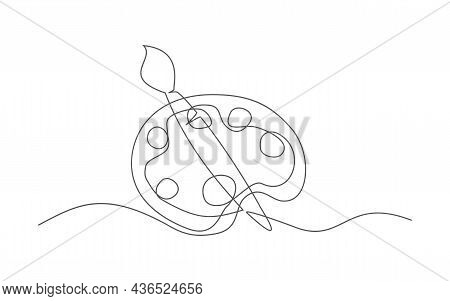 Palette. One Line Drawing. Vector Palette In Line Style