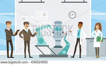 Man And Woman Scientist Presenting Artificial Intelligence Assistance In Operation Vector Illustrati