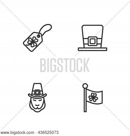 Set Line Ireland Flag With Clover, Leprechaun, Clover Trefoil Leaf Tag And Hat Icon. Vector