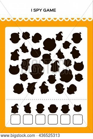 Happy Halloween I Spy Math Game For Kids With Shadow Monsters. Mathematical Practice. Education Game