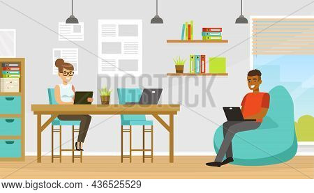 People Coworker In Office Space Working Together At Table And In Armchair Vector Illustration