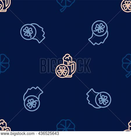 Set Line Four Leaf Clover, Head With Trefoil And Glass Of Beer On Seamless Pattern. Vector