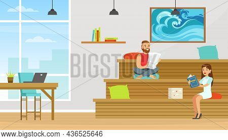 People Coworker In Office Space Working Together Vector Illustration