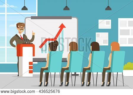 Man Character Coworker In Office Space Showing Presentation On Markerboard Vector Illustration