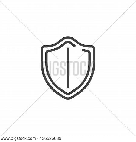Security Shield Line Icon. Linear Style Sign For Mobile Concept And Web Design. Protection Shield Ou