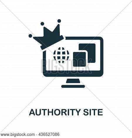 Authority Site Icon. Monochrome Sign From Affiliate Marketing Collection. Creative Authority Site Ic