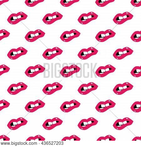 Pink Lipstick On Female Lips Vector Seamless Pattern Background For Beauty And Make Up Design.