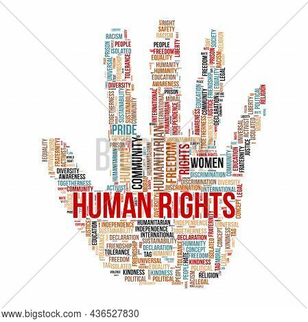Human Rights Word Cloud Concept With Hand Symbol.