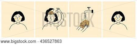 Set Of Vector Illustrations Of Female Character Washing Her Brain. Brainwashing, Clean Mind Concept.