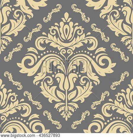 Classic Seamless Pattern. Damask Orient Ornament. Classic Vintage Gray And Golden Background. Orient