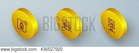 Set Isometric Line Online Ticket Booking, Waiting Hall And Railroad Crossing Icon. Vector