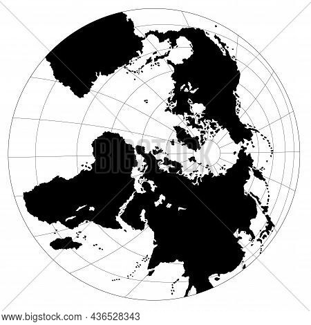 Globe With Grids Antarctic View - Black Illustration Isolated On White Background, Vector