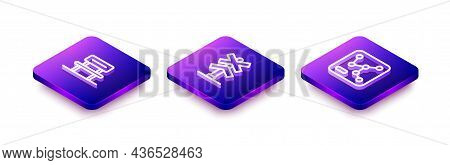 Set Isometric Line Waiting Hall, Railroad Crossing And Railway Map Icon. Vector