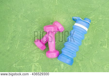 Pair Of Womens Pink Matte Dumbbells For Sports And Silicone Water Bottle On Green Background