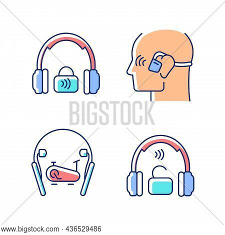 Wireless Headphones Rgb Color Icons Set. Professional On Ear Headset. In Ear Earphones For Sport Act