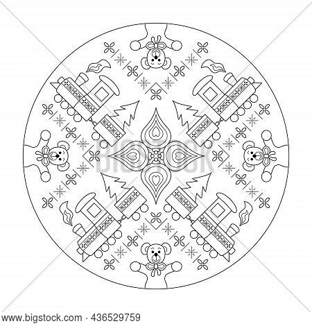 Mandala Coloring Page. Little Christmas Train Carrying The Christmas Tree. Cute Cuddly Bear. Vector