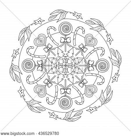 Mandala Coloring Page. Lollipop, Heart Lollipop And Candy Cane. Christmas Tree And Stars. Vector Ill