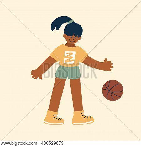 Dark Skin Girl Playing With Basket Ball. Basketball Player Vector Illustration. Active Leisure, Heal