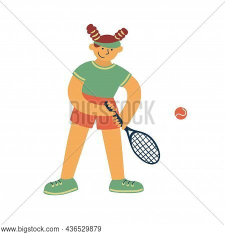 Tennis Player, Sport Game. Female Athlete With Racquet And Ball. Physical Activity By Play. Cartoon