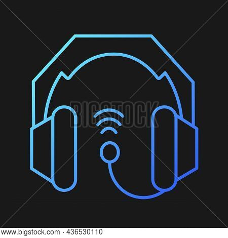 Gaming Headset Gradient Vector Icon For Dark Theme. Earphones And Microphone Kit. E Sports Equipment