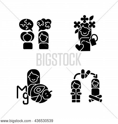 Mental Disorders Treatment Black Glyph Icons Set On White Space. Depression Medication Therapy. Ment