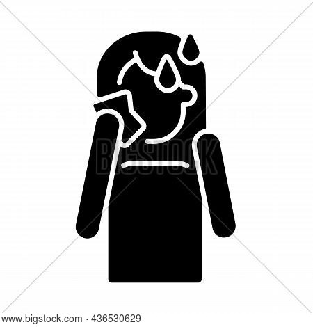Hot Flashes And Sweating Black Glyph Icon. Panic Attack Symptom. High Temperature And Perspiration D