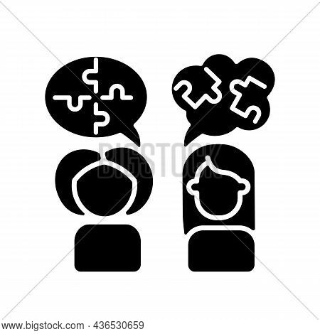 Psychotherapy Black Glyph Icon. Psychological Method. Prevention, Treatment Of Mental Disorders. Cog