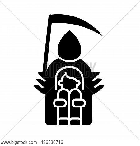 Fear Of Death Black Glyph Icon. Thanatophobia. Intense And Irrational Fear Of Dying. Awe Of Loss. Ps
