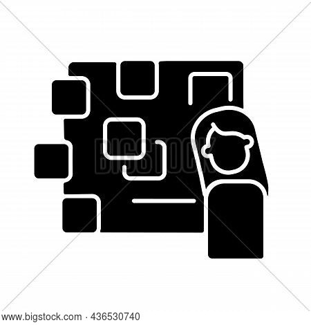 Derealization Black Glyph Icon. Symptom Of Panic Attack. Depersonalization And Detachment. Mental Di