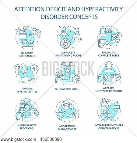 Attention Deficit And Hyperactivity Disorder Concept Icons Set. Be Easily Distracted Idea Thin Line
